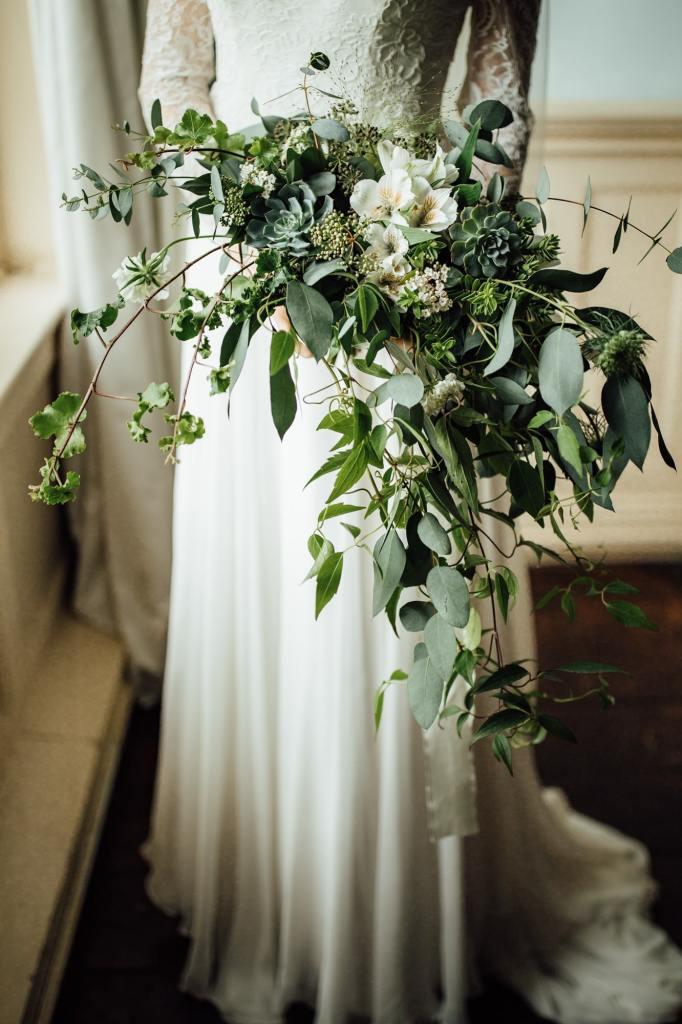 Botanical Wedding - Woodborough Hall - Trailing Foliage Bouquet