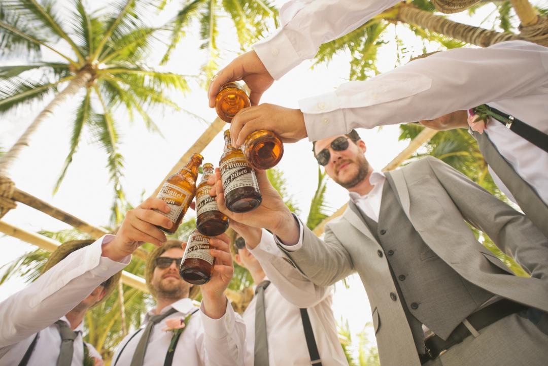 Men raising a toast