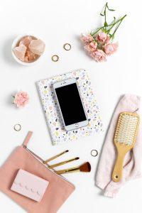 Wedding Day Kit - Phone, hairbrush, make up brushes