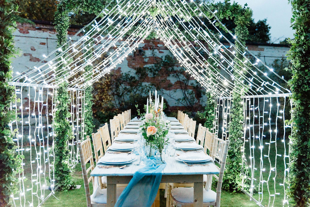 A table setting for an intimate wedding