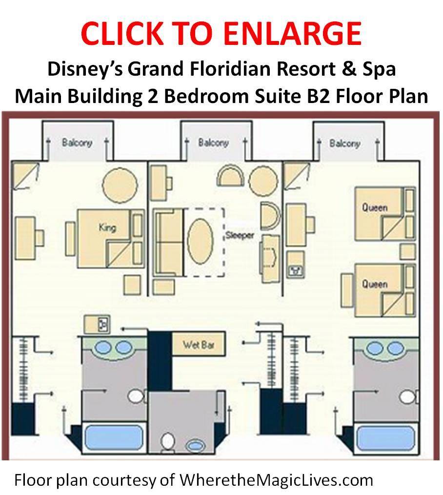 Disneyland Hotel 2 Bedroom Suite Floor Plan