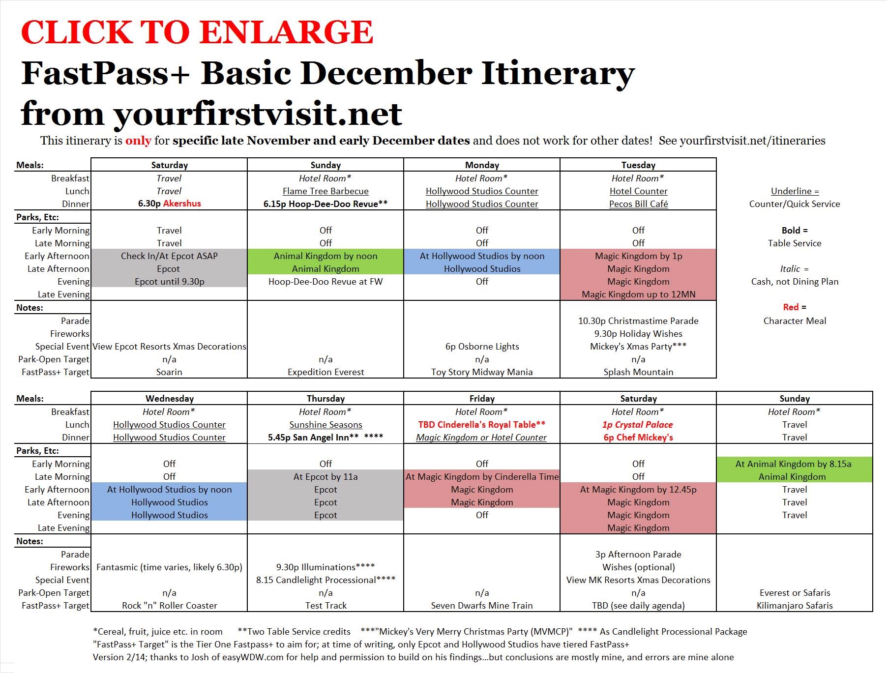 Disney World Basic December Itinerary From Yourfirstvisit