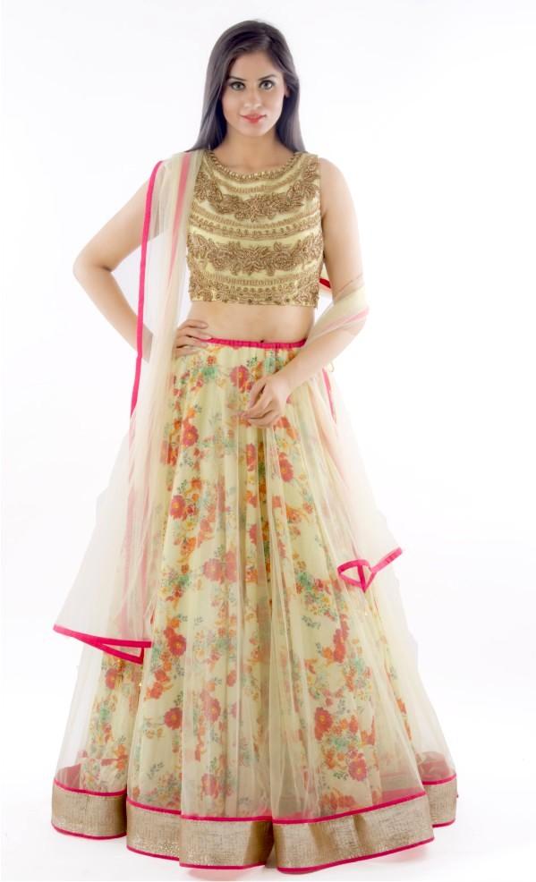 Floral Printed Net Lehenga Designs For Indian Brides 2016