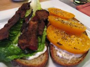 BLT: Romaine lettuce, applewood smoked bacon, and heirloom tomato sandwich.