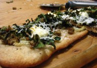 Pheasant sausage and kale pizza.