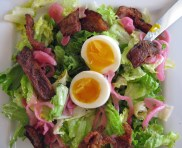 Crunchy pig's ear and egg salad.