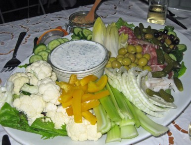 A semi white array of crudite and more.