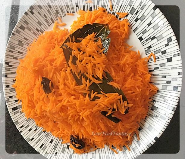 saffron rice for chicken biryani recipe recipe at yourfoodfantasy.com by meenu gupta