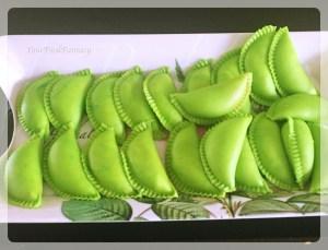 Green colored gujiya | yourfoodfantasy