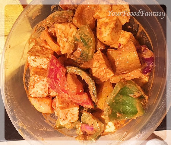 marinated paneer tikka | paneer tikka recipe at yourfoodfantasy.com by meenu gupta