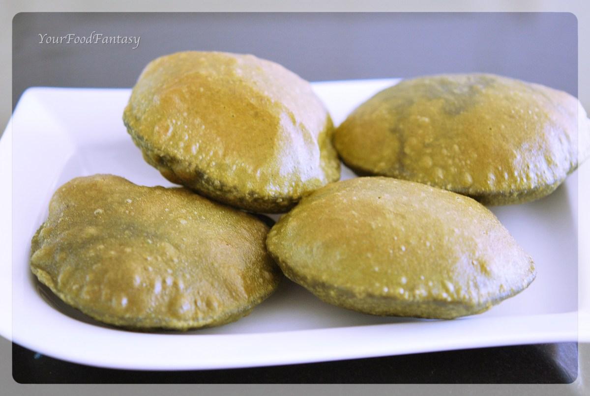 Palak Poori / Spinach Poori