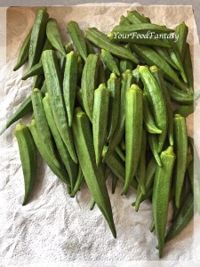 Washed Okra for Bhindi Masala