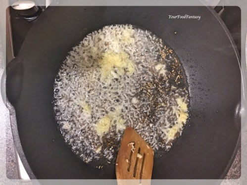 Frying Cumin seeds for Bhindi Do Pyaza | YourFoodFantasy.com