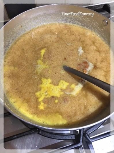 Adding Saffron Milk | Sooji Ka Halwa Recipe | YourFoodFantasy.com