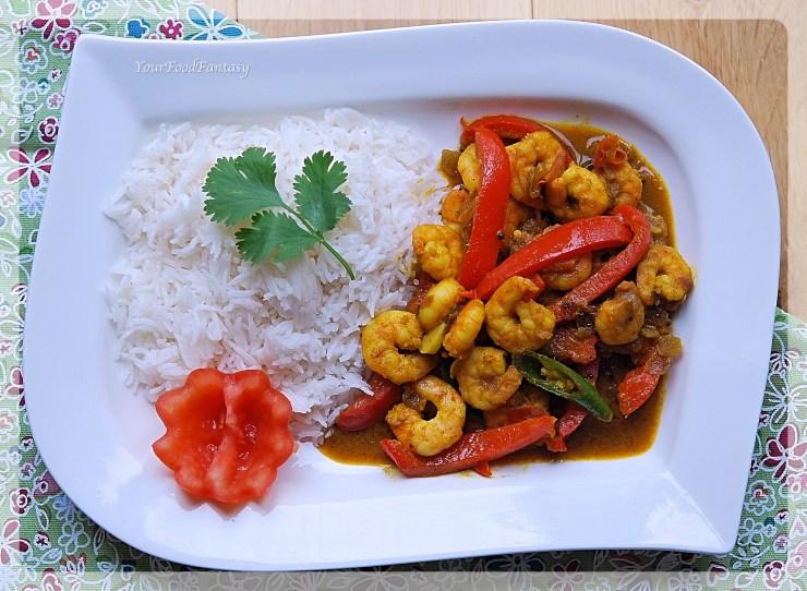Indian Capsicum Prawn Curry Recipe | Your Food Fantasy