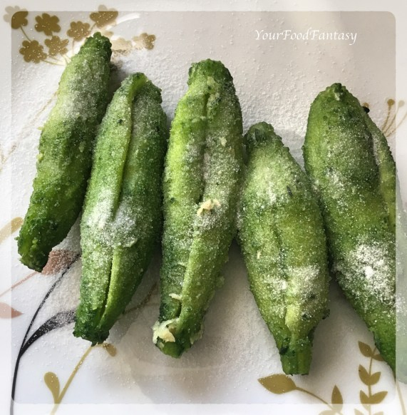 Salting Karela for Stuffed Karela | Your Food Fantasy