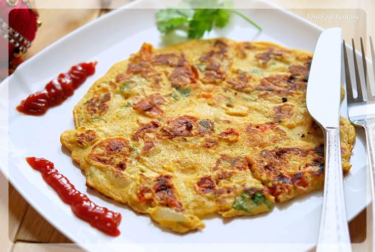 Vegetarian Omelette - Besan Ka Cheela | YourFoodFantasy.com