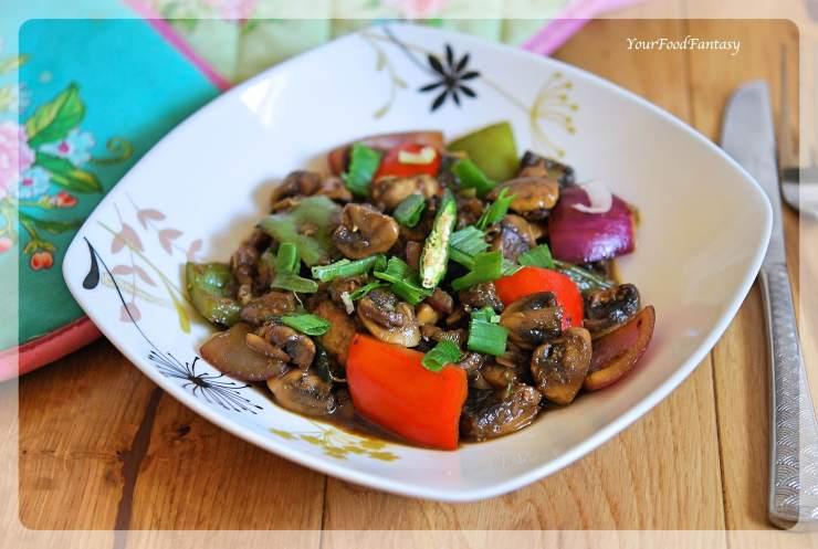 Chilli Mushroom Recipe   Mushroom Recipe   YourFoodFantasy.com