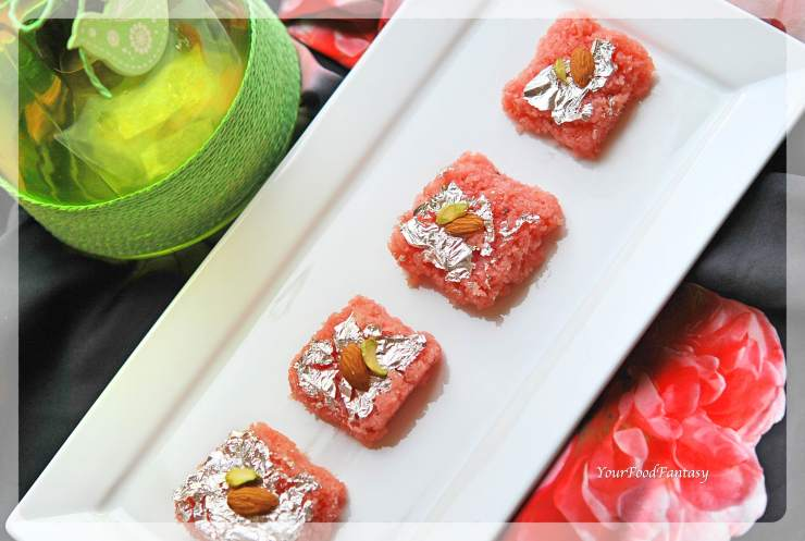 Fresh Rose Flavour Coconut Burfi Recipe| YourFoodFantasy.com