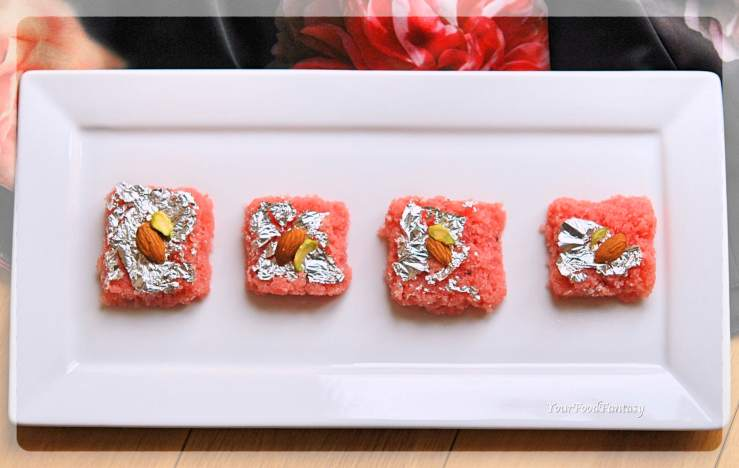 Rose Coconut Burfi Recipe | Your Food Fantasy