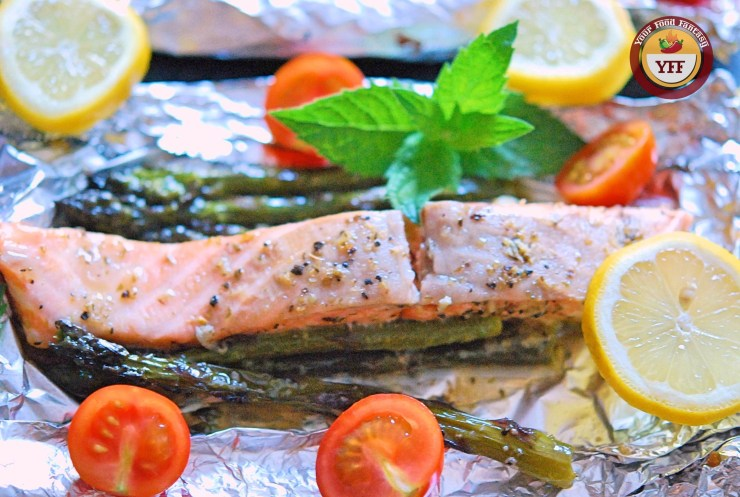 One Pot Asparagus Salmon Foil Bake | YourFoodFantasy.com