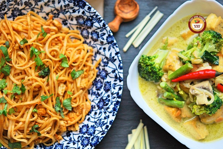 Fusion Recipes | Tandoori Egg Noodles Recipe and Green Thai Curry Recipe | YourFoodFantasy.com