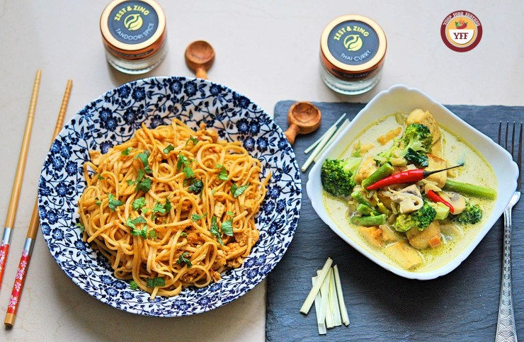 Tandoori Noodles and Green Thai Curry Recipe   Your Food Fantasy