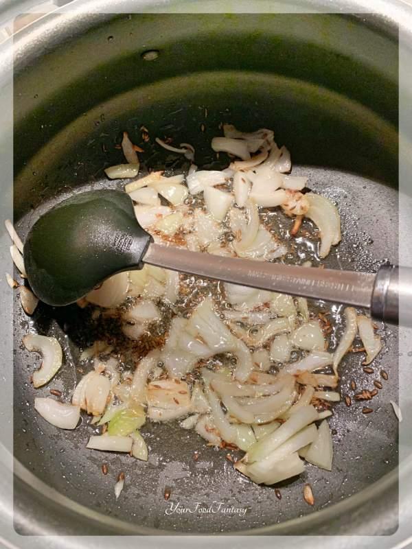 Sautee Onion for making Palak Kadhi | Your Food Fantasy