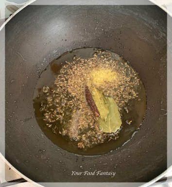 Frying Cumin seeds for mixed veg curry