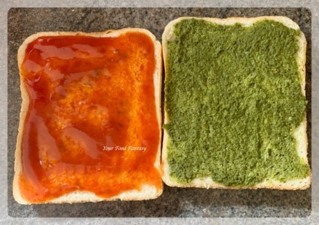 Applying Chutney on bread slices