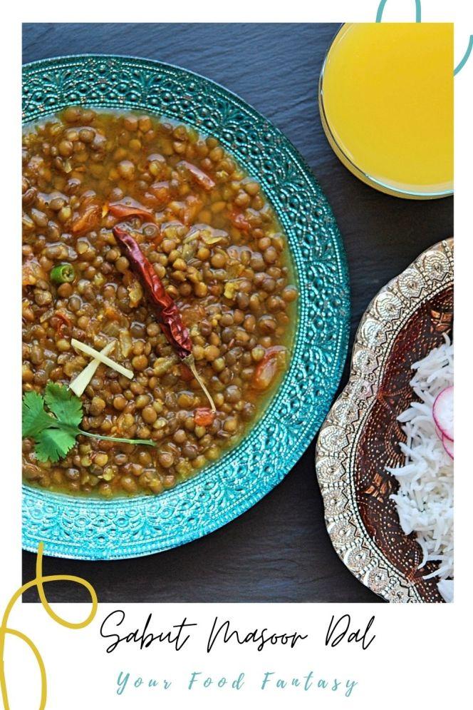 Sabut Masoor Dal - Brown Lentils Recipe