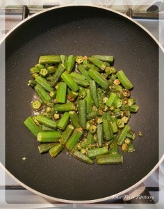 Frying Bhindi for Dahi Bhindi
