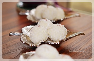coconut ladoo with desiccated coconut at yourfoodfantasy.com by meenu gupta | Like us on https://www.facebook.com/yourfoodfantasy