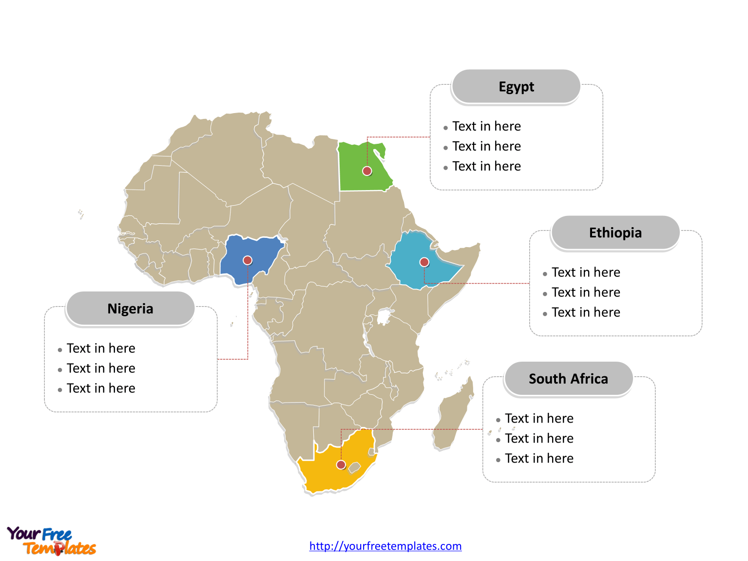 Map of Africa free templates   Free PowerPoint Templates Map of Africa with political division and major Countries labeled on the Africa  map free templates