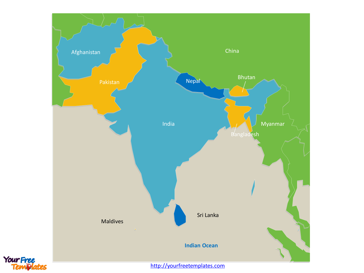 Free South Asia Editable Map