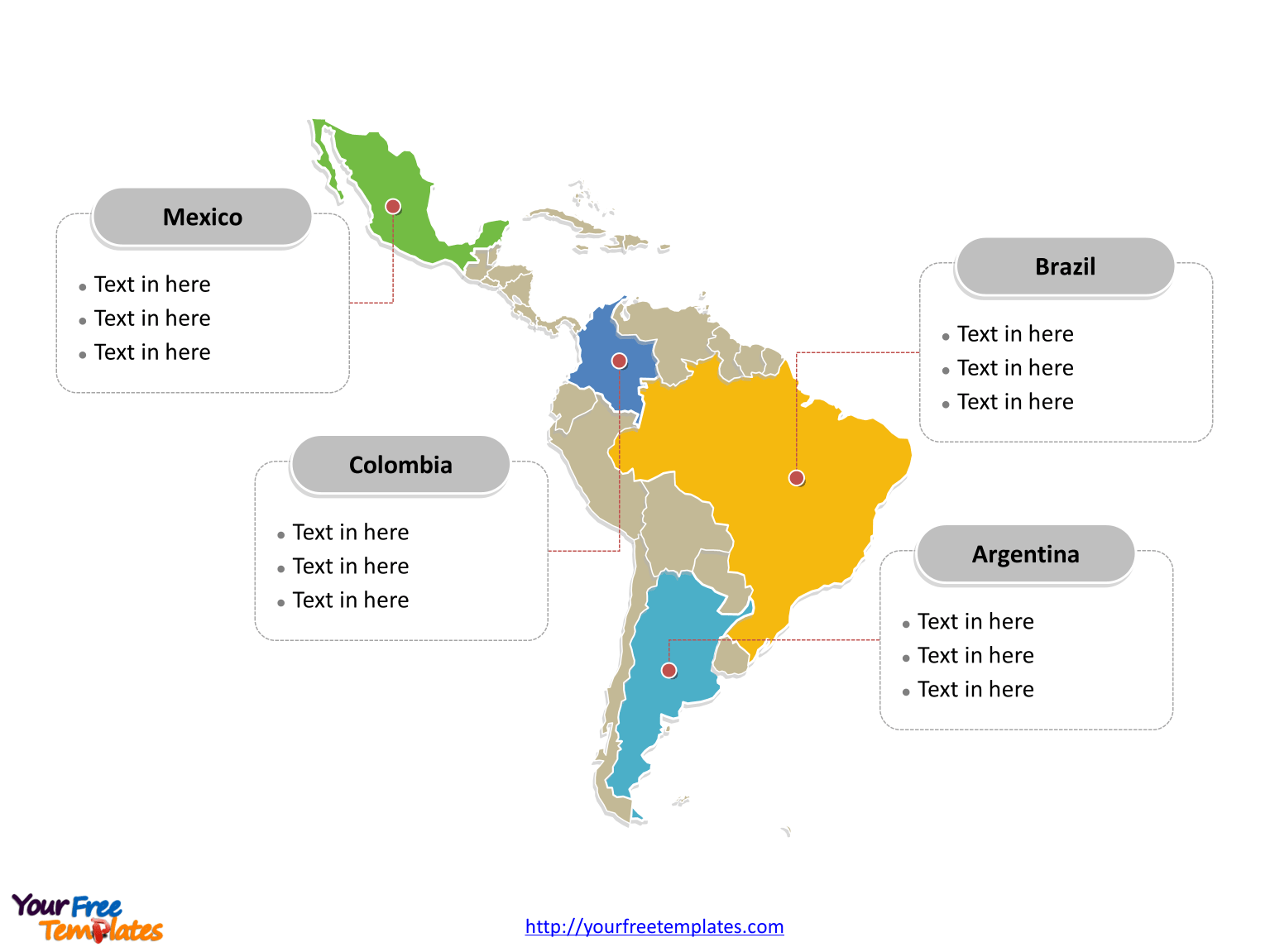 Latin America Map Free Templates