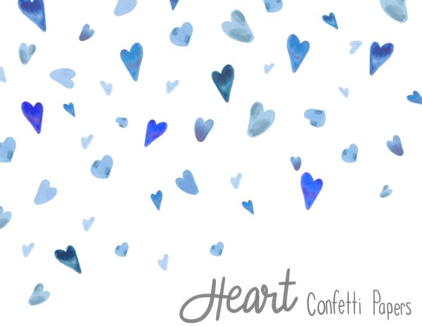 Watercolor Heart Confetti - Blue