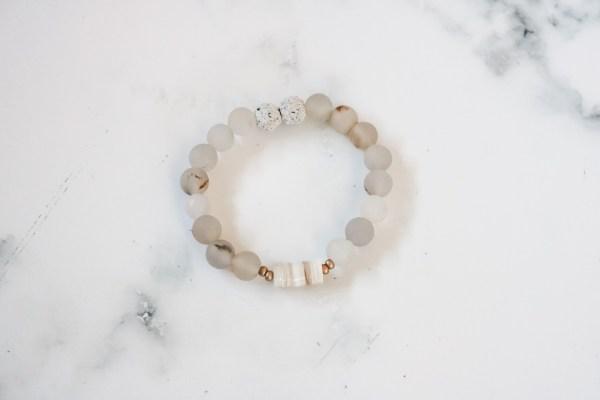 White Stackable Beaded Bracelet