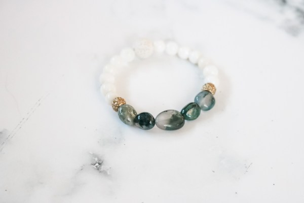 Green & White Stackable Bracelet
