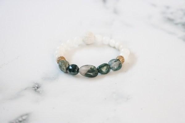 Green & White Stackable Bracelet