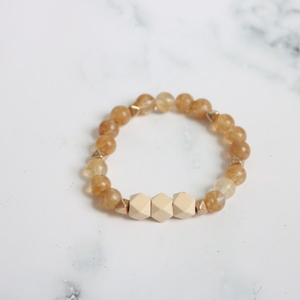 amber stackable beaded stretch bracelet