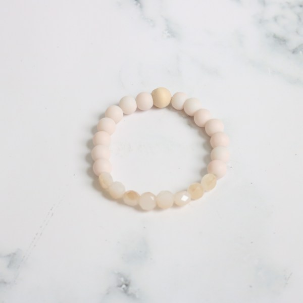 Light Pink Stackable Beaded Stretch Bracelet