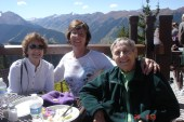 Bobbi and the ladies up at the Sundeck on Aspen Mountain for lunch.
