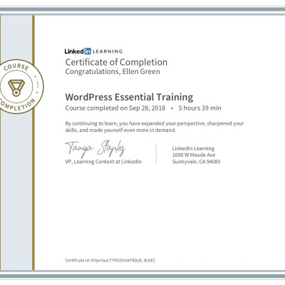 Certificate of Completion for WordPress Essential Training