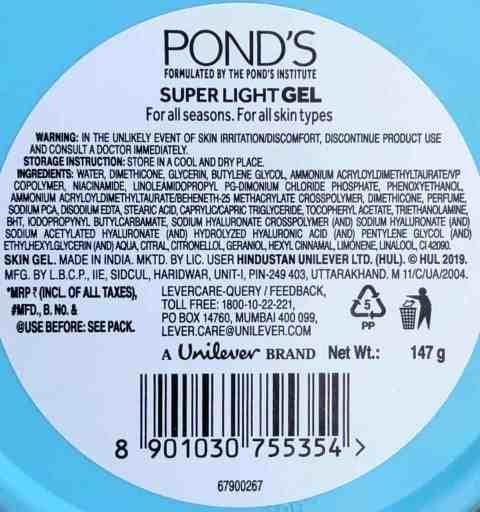 ponds super light gel ingredients