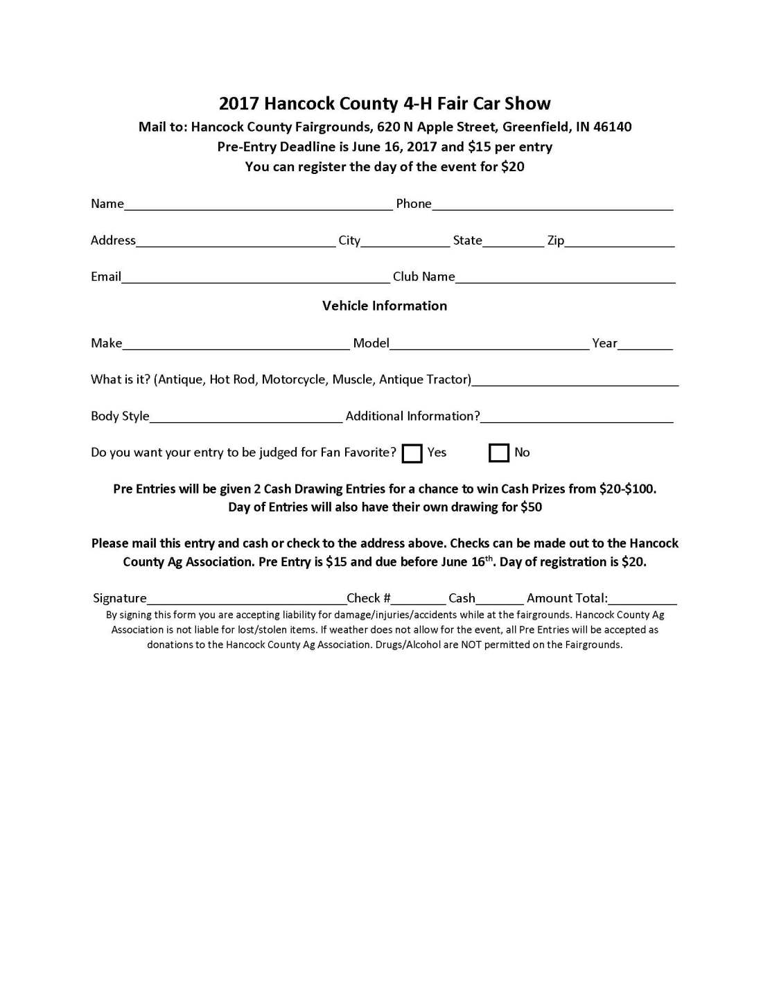 4 h car show entry form click here to download a pdf version of the entry form car show registration form thecheapjerseys Image collections