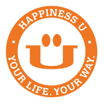 happiness u membership logo of happy face inside an orange
