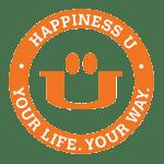happiness u membership logo of happy face inside an orange