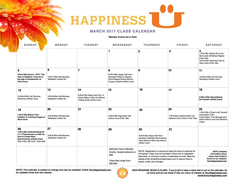 happiness u class schedule march 2017