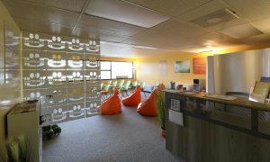 Happiness U office and talk space interior at Salt in Our Kaka'ako